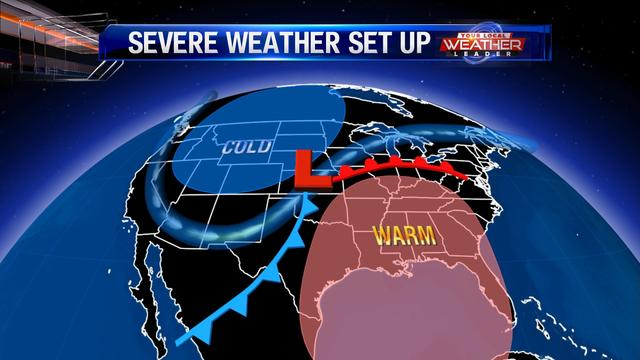 The typical setup for severe weather is a warm front north of central Illinois with warm, moist Gulf of Mexico Air.  The cold air over the northwest United States will try to displace the warm air.